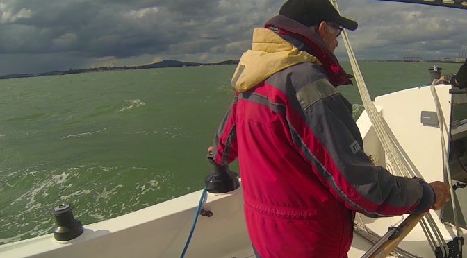 Bill at the Helm of Pionnier on Anzac day 2014