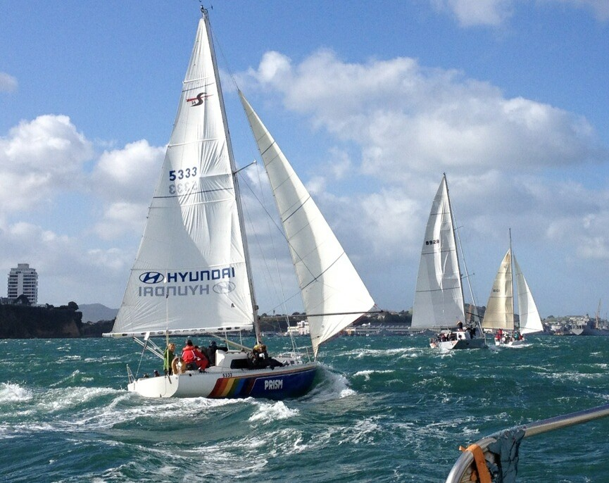 Prism powering down the harbour in the RNZYS winter series