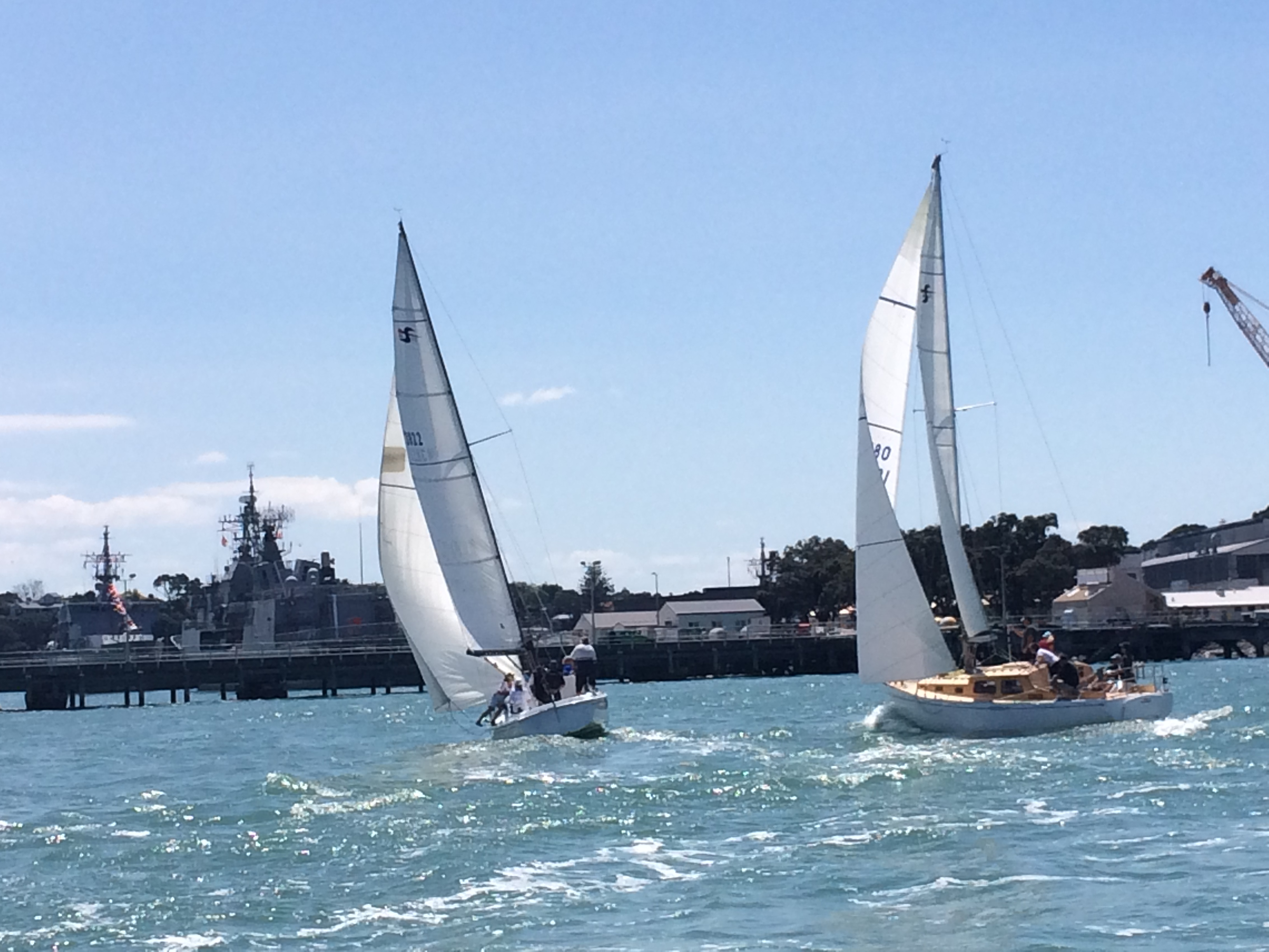 Pioneer and Precedent fighting on the way past Devonport