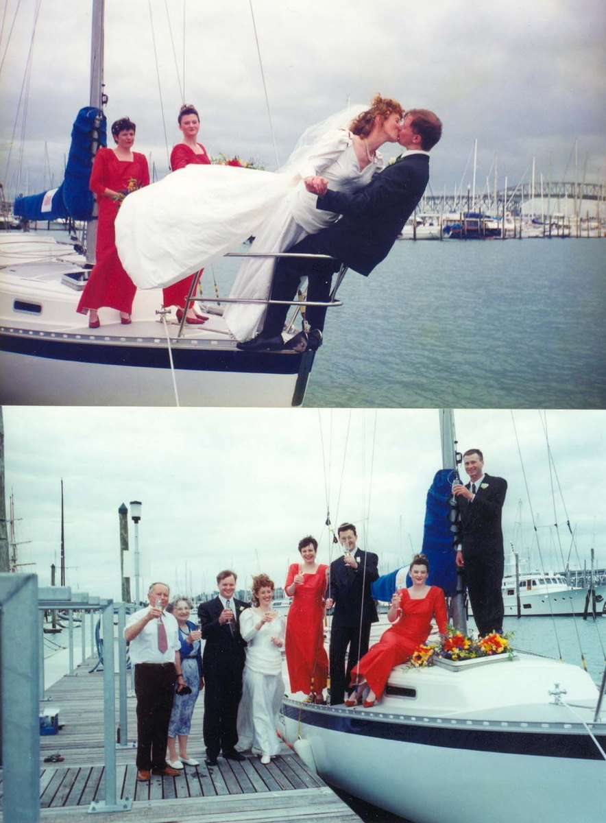 Sarah and Pete take their vows aboard Promise (Stewart Association Collection)